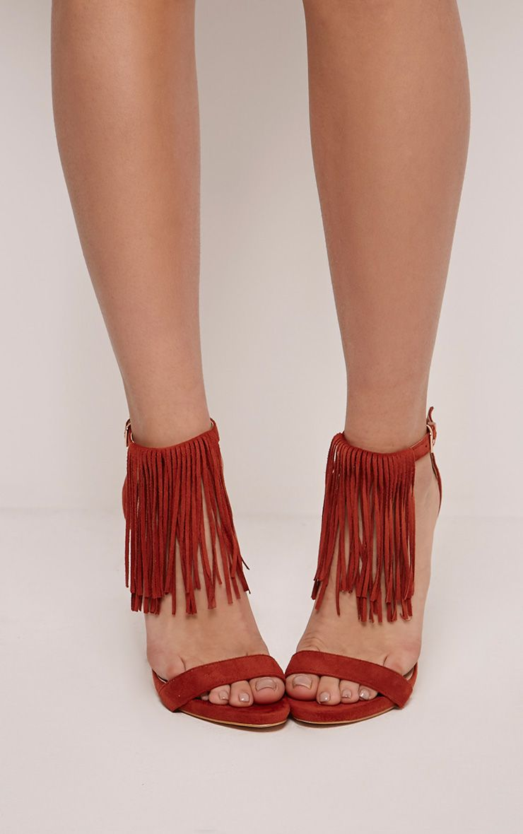 Billie Burgundy Faux Suede Fringed Heeled Sandals 1