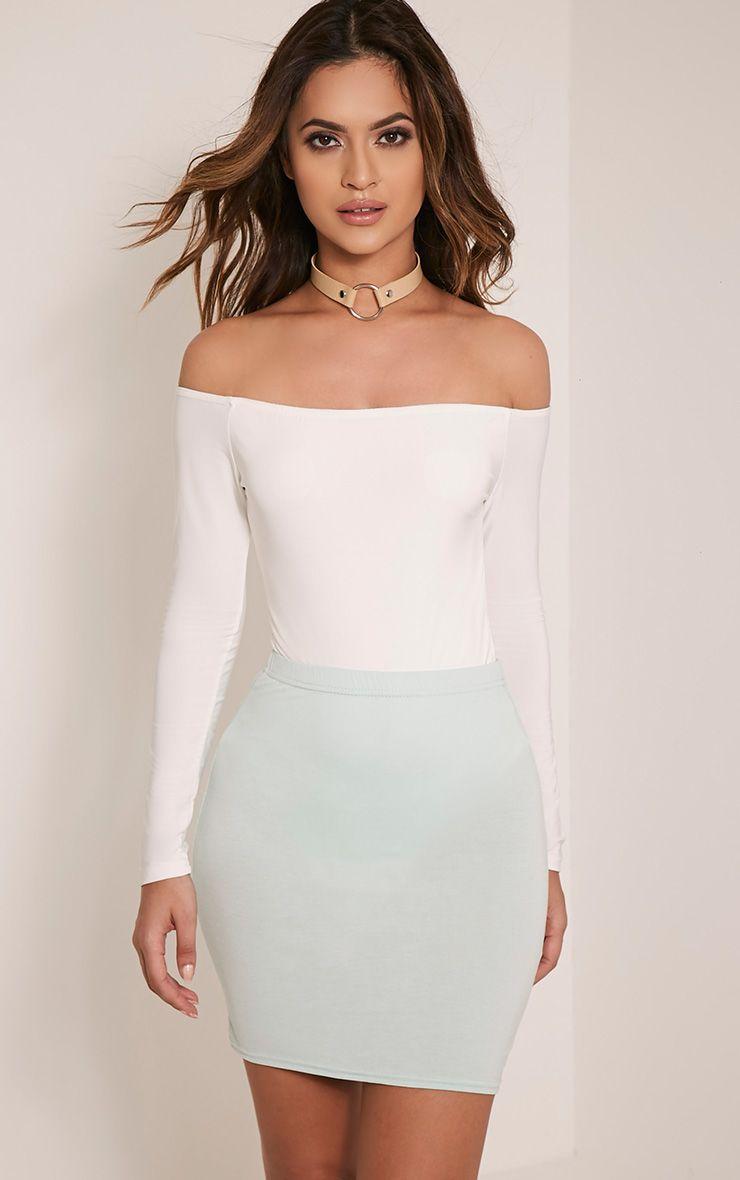 Basic Mint Jersey Mini Skirt 1