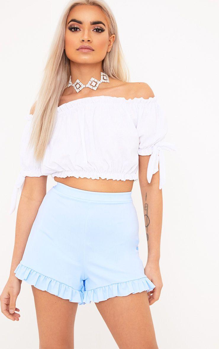 Kaisha Baby Blue Frill Shorts