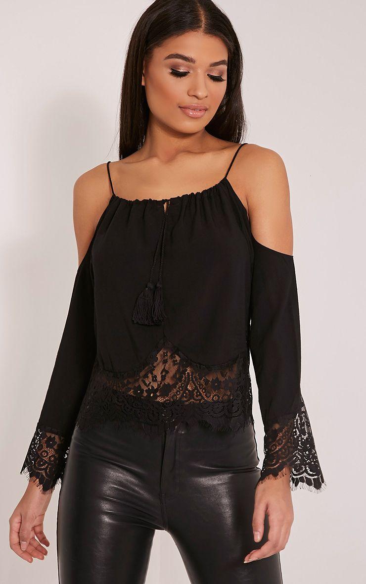 Josette Black Cold Shoulder Lace Trim Crop Top 1