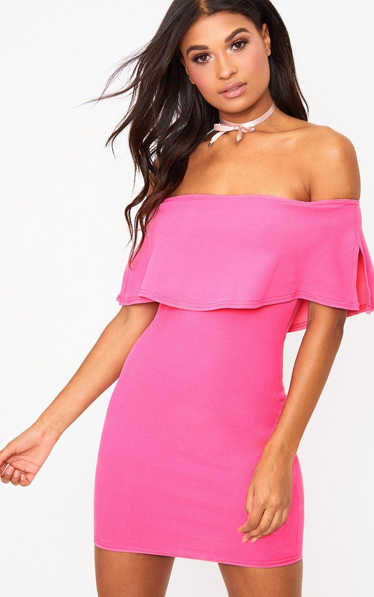 Hot Pink Bardot Frill Bodycon Dress
