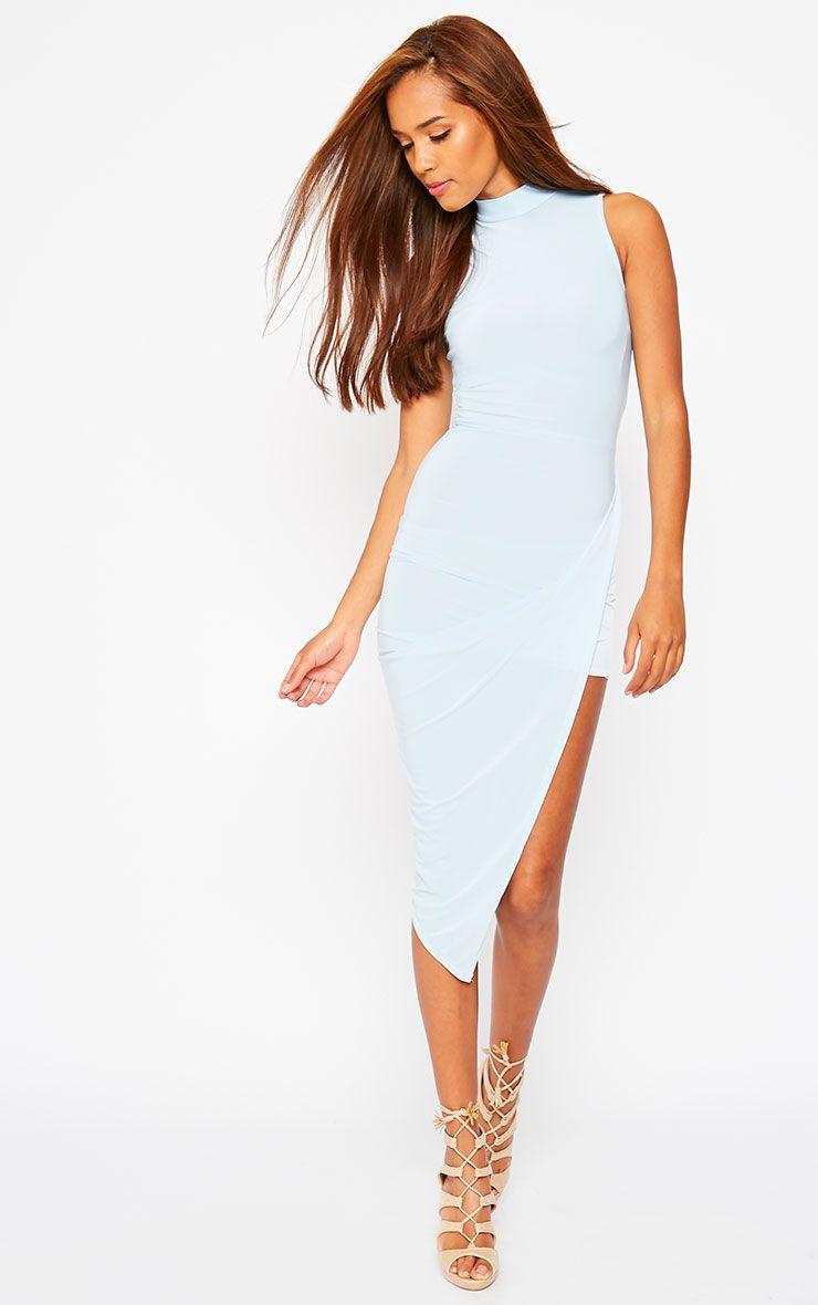 Prim Blue Slinky Drape Asymmetric Dress 1