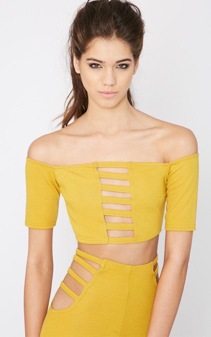 Mayra Mustard Cut Out Bardot Crop Top  1