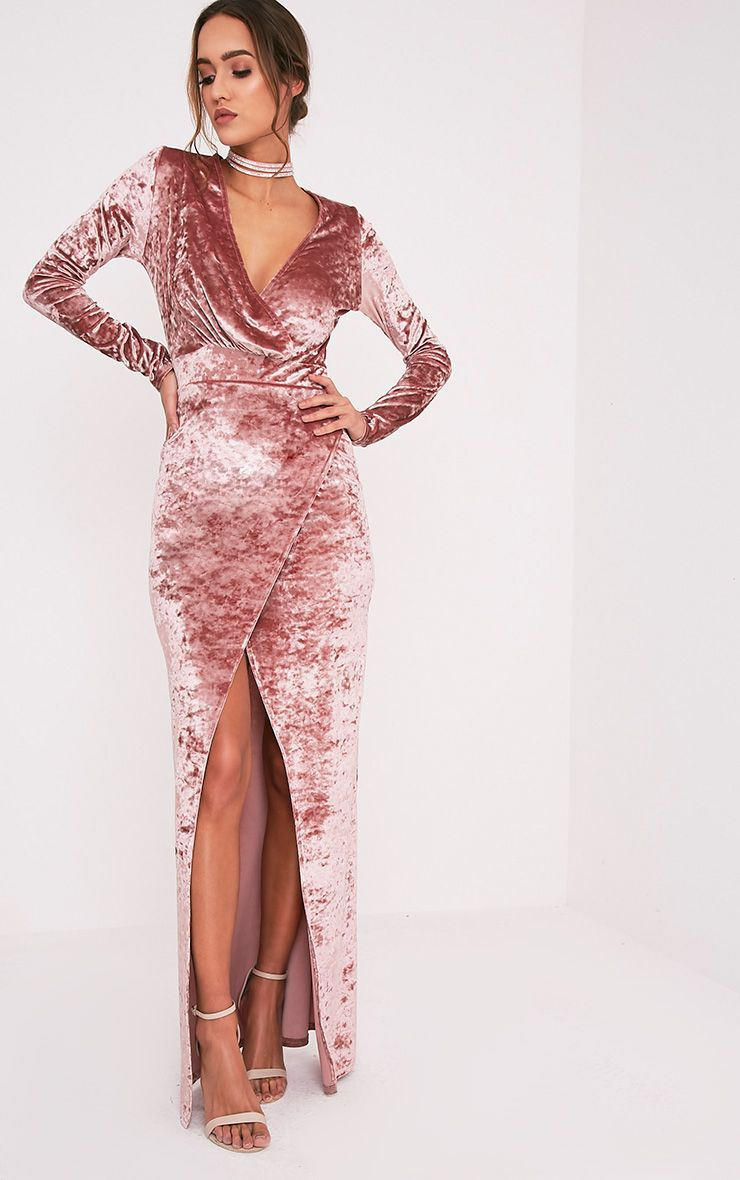 Luisah Dusty Pink Crushed Velvet Wrap Maxi Dress