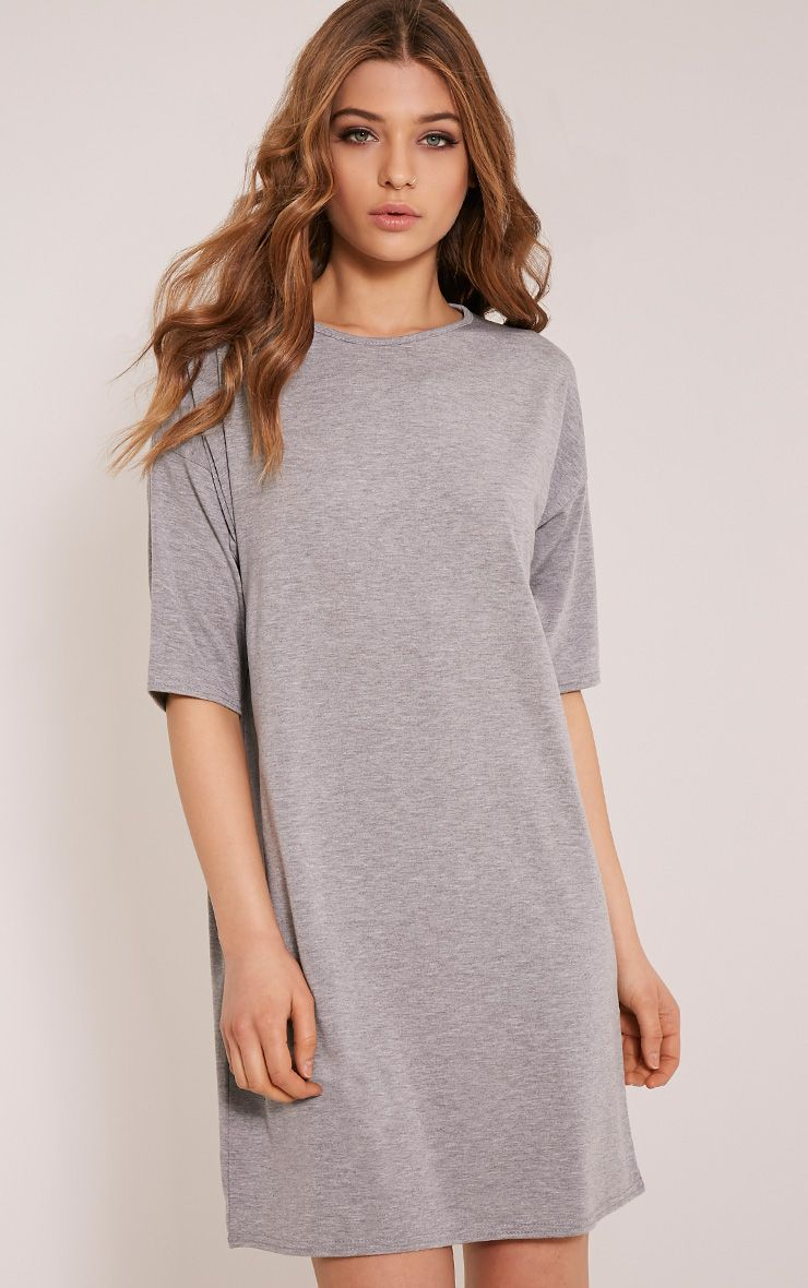Basic Grey Marl Drop Shoulder T Shirt Dress 1