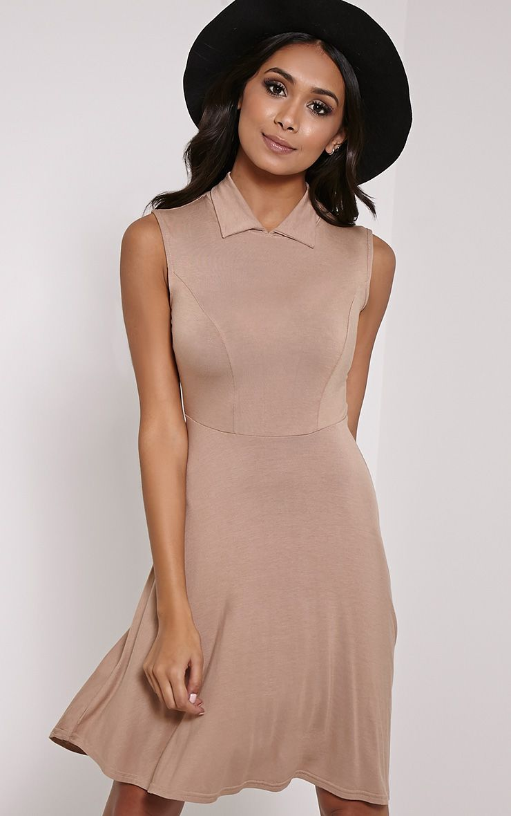 Oprah Camel Drop Hem Collar Skater Dress 1