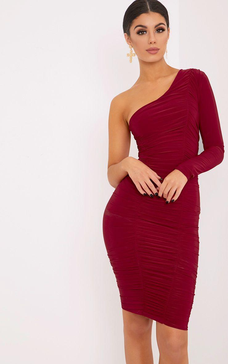 Skylar Red Slinky Ruched One Shoulder Midi Dress