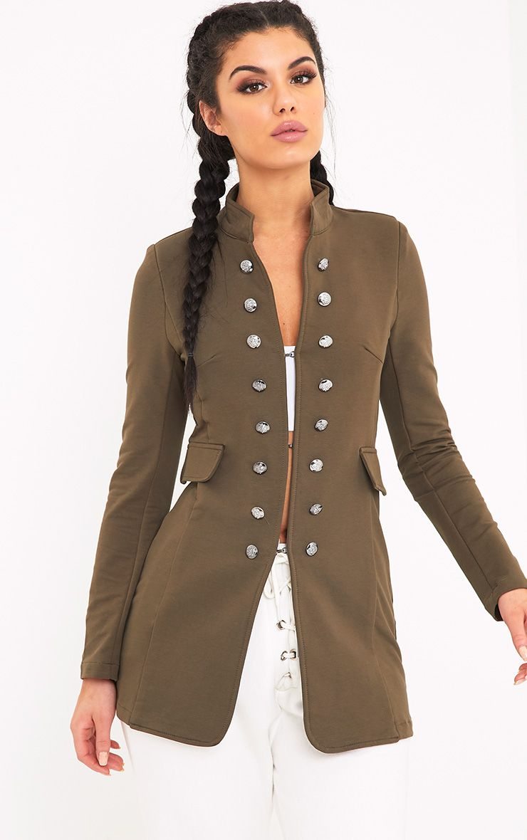 Solenn Khaki Double Button Miltary Coat