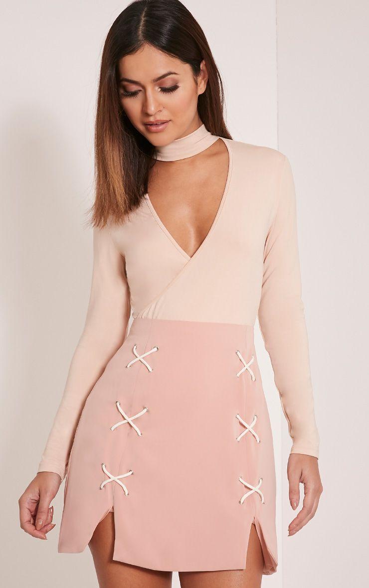 Ambrosia Blush Lace Up Mini Skirt 1