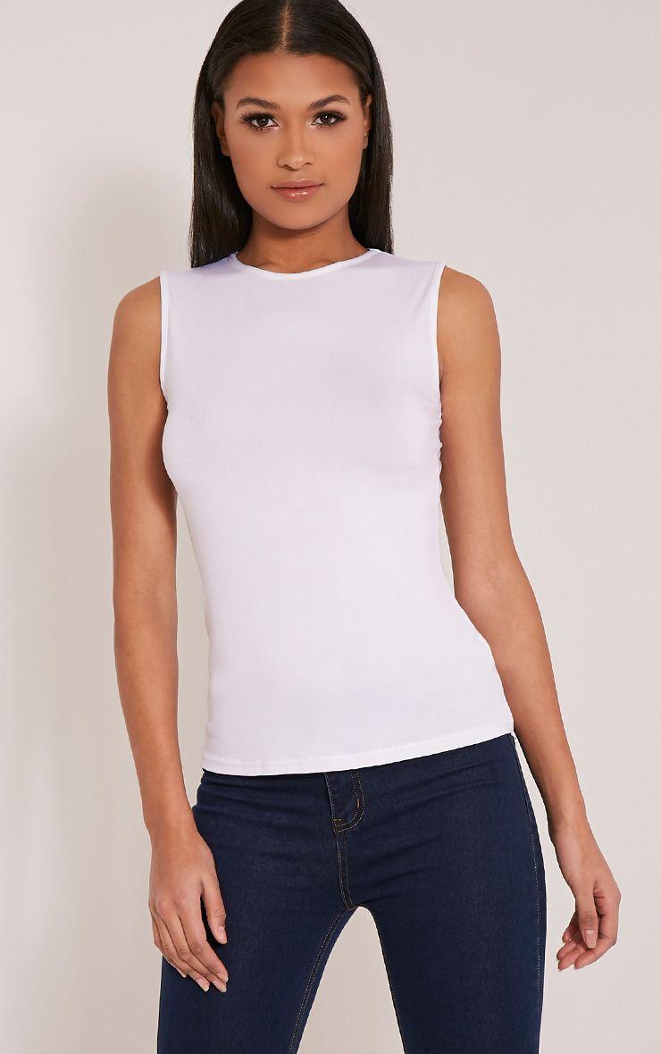Basic White Round Neck Vest