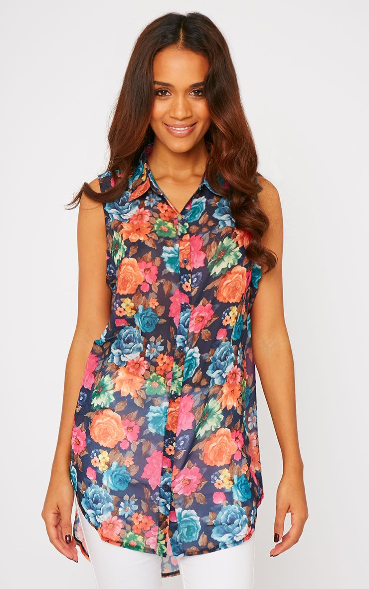 Olivia Navy Floral Print Sleeveless Shirt 1