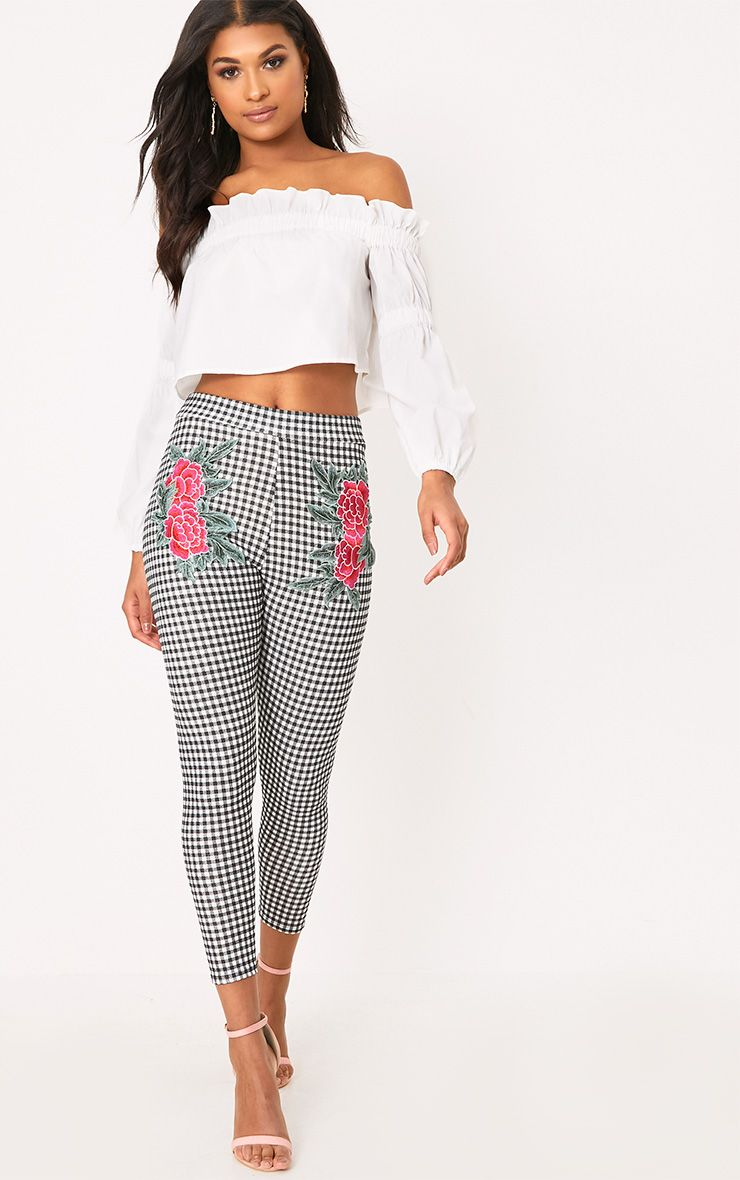 Black Gingham Applique Skinny Trousers
