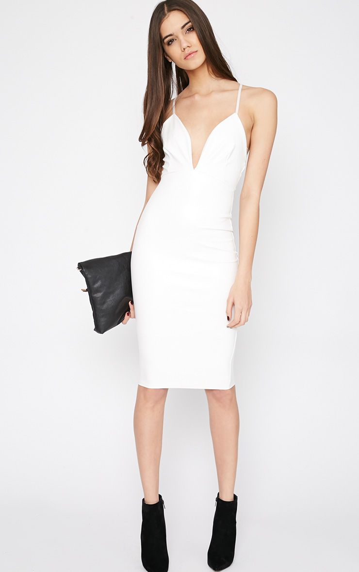 Addison White Leather Plunge Midi Dress 1