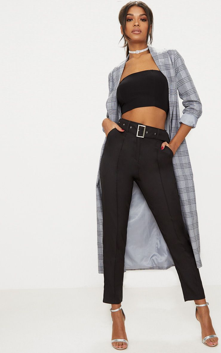 Black Belted Tailored Trousers