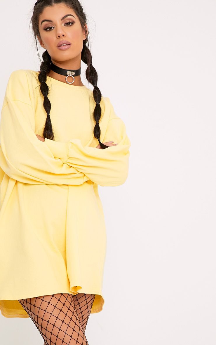 Sianna Lemon Oversized Sweater Dress