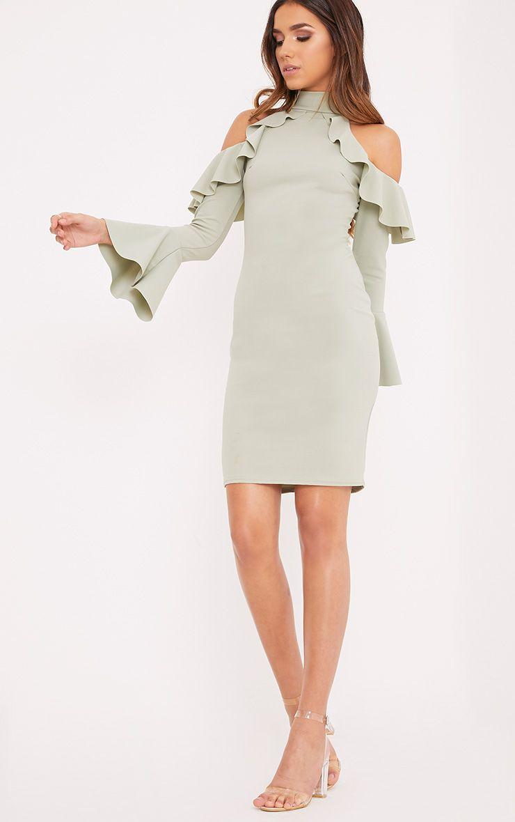 Zarinia Sage Green Cold Shoulder Ruffle Midi Dress
