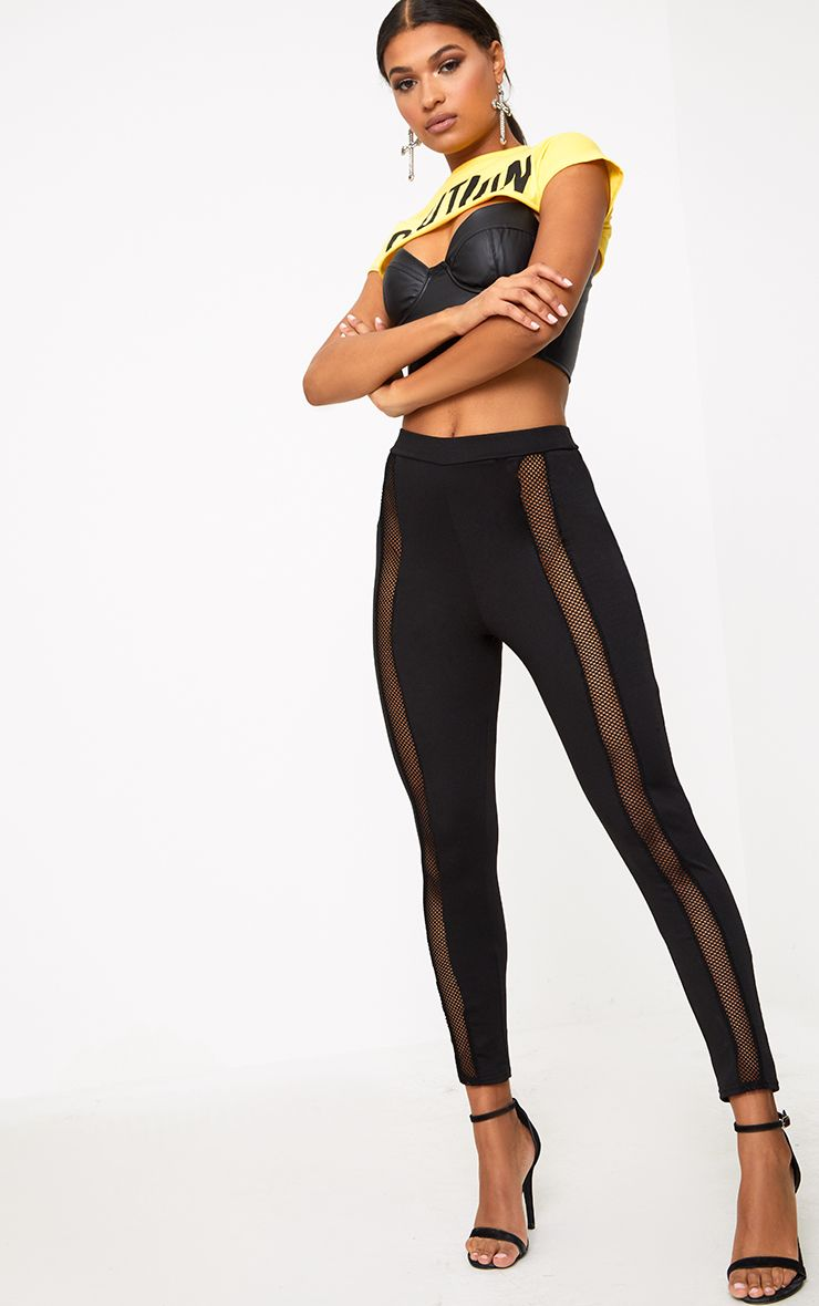 Black Front Fishnet Panel Leggings