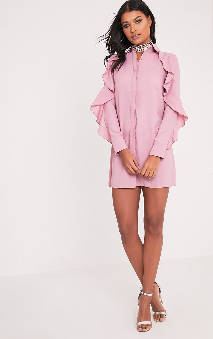 Angelica Dusty Pink Ruffle Detail Shirt Dress