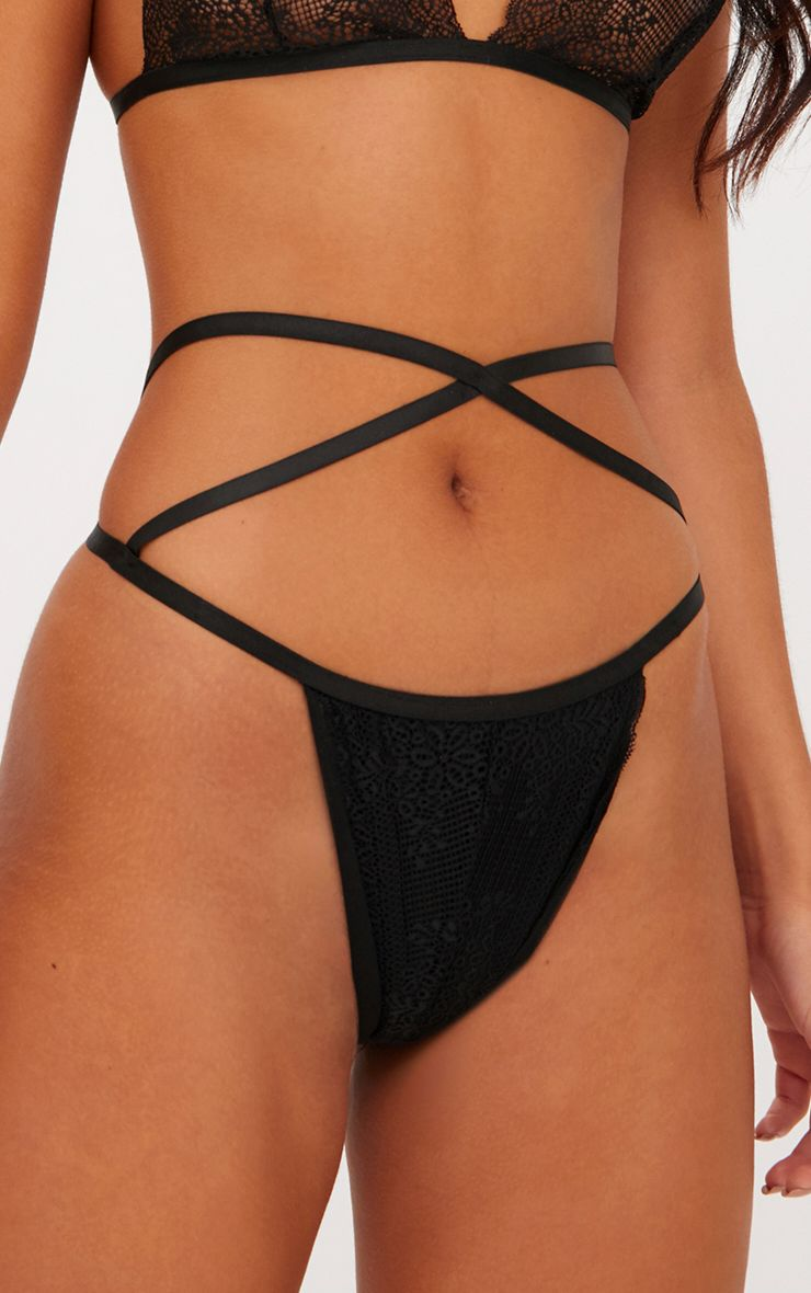 Black Cross Over Front Thong