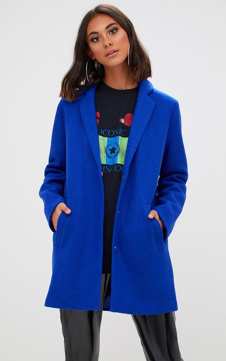 Manteau en laine bleu colbat