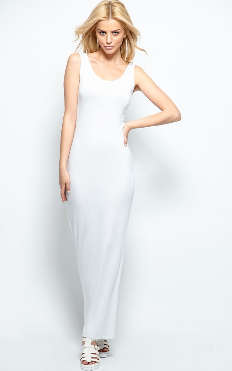 Zoe White Jersey Scoop Neck Maxi Dress 1
