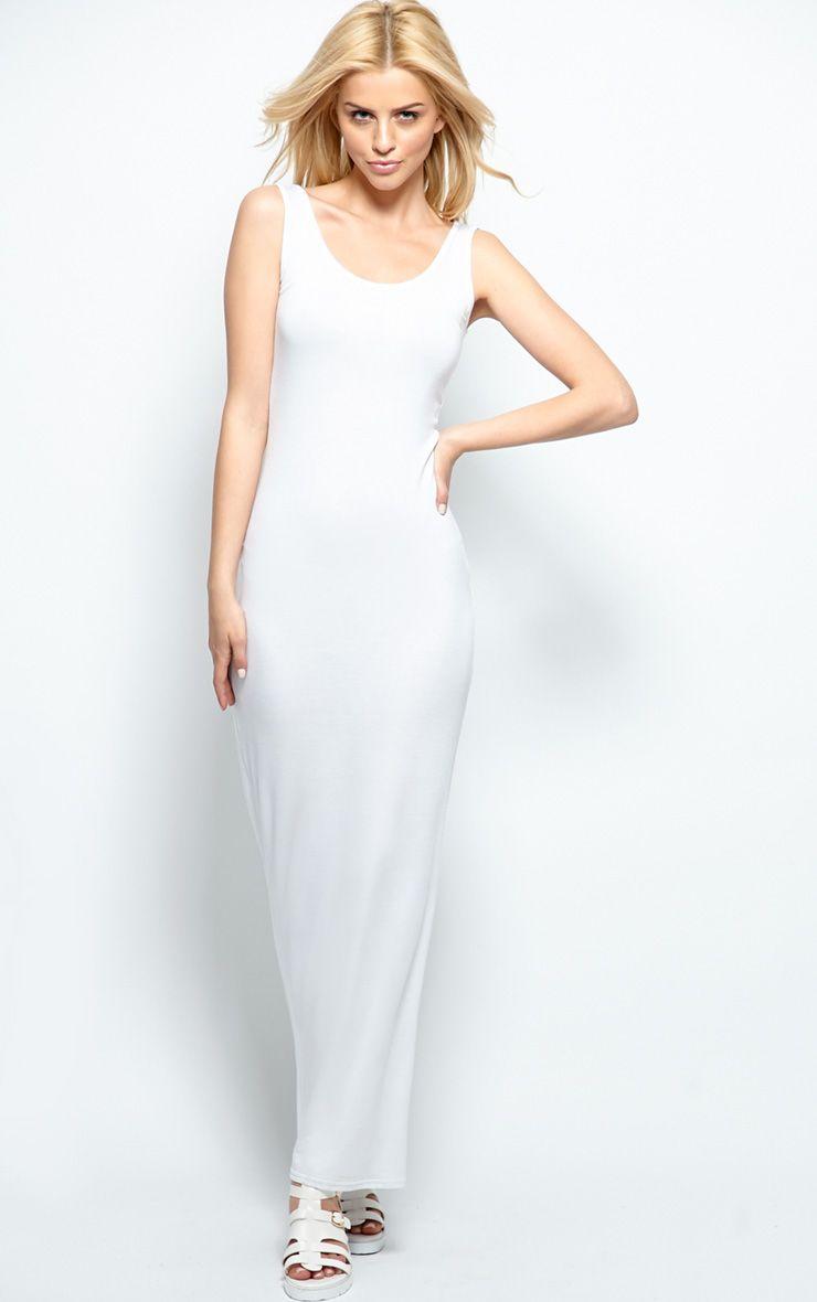 Zoe White Jersey Scoop Neck Maxi Dress 1