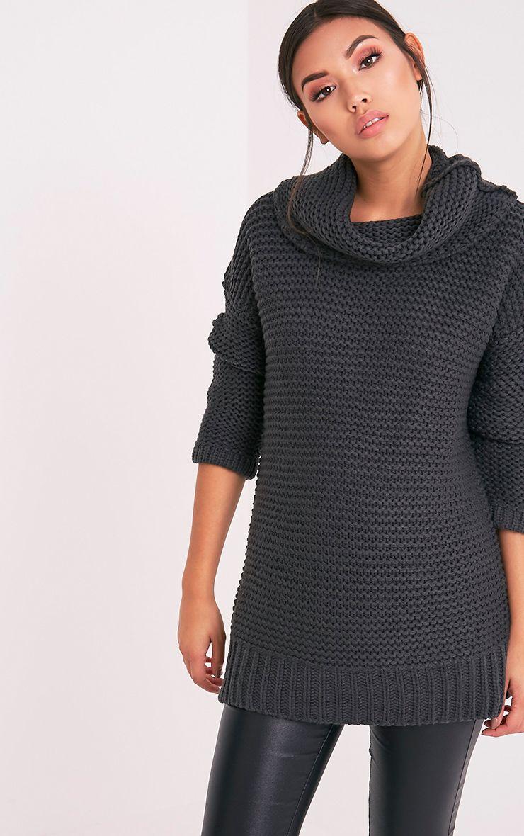 Camarina pull tricoté épais à col roulé anthracite 1