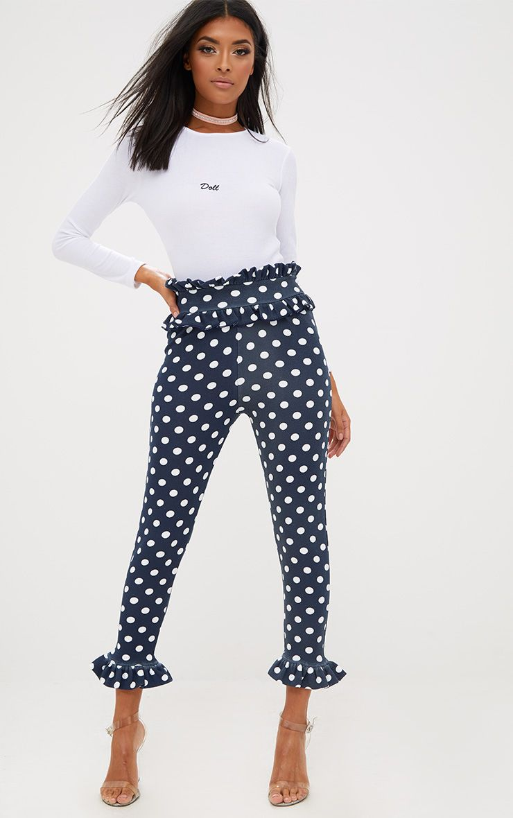 Navy Polka Dot Frill Trim Trousers