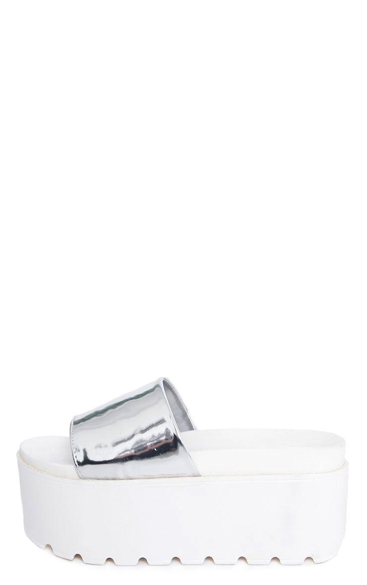 Mariella Silver Metallic Flatform Slider 1