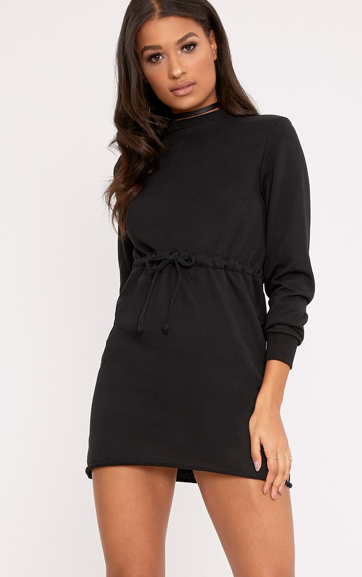 Suzanne Black Tie Waist Sweater Dress