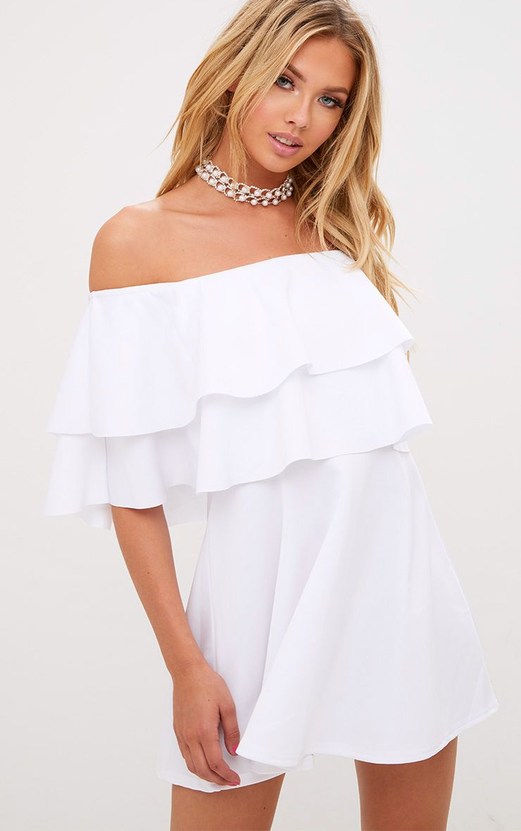 White Frill Bardot Skater Dress