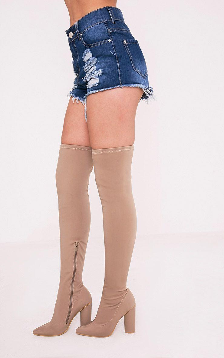 Elana mini short en jean déchiré délavage moyen 4