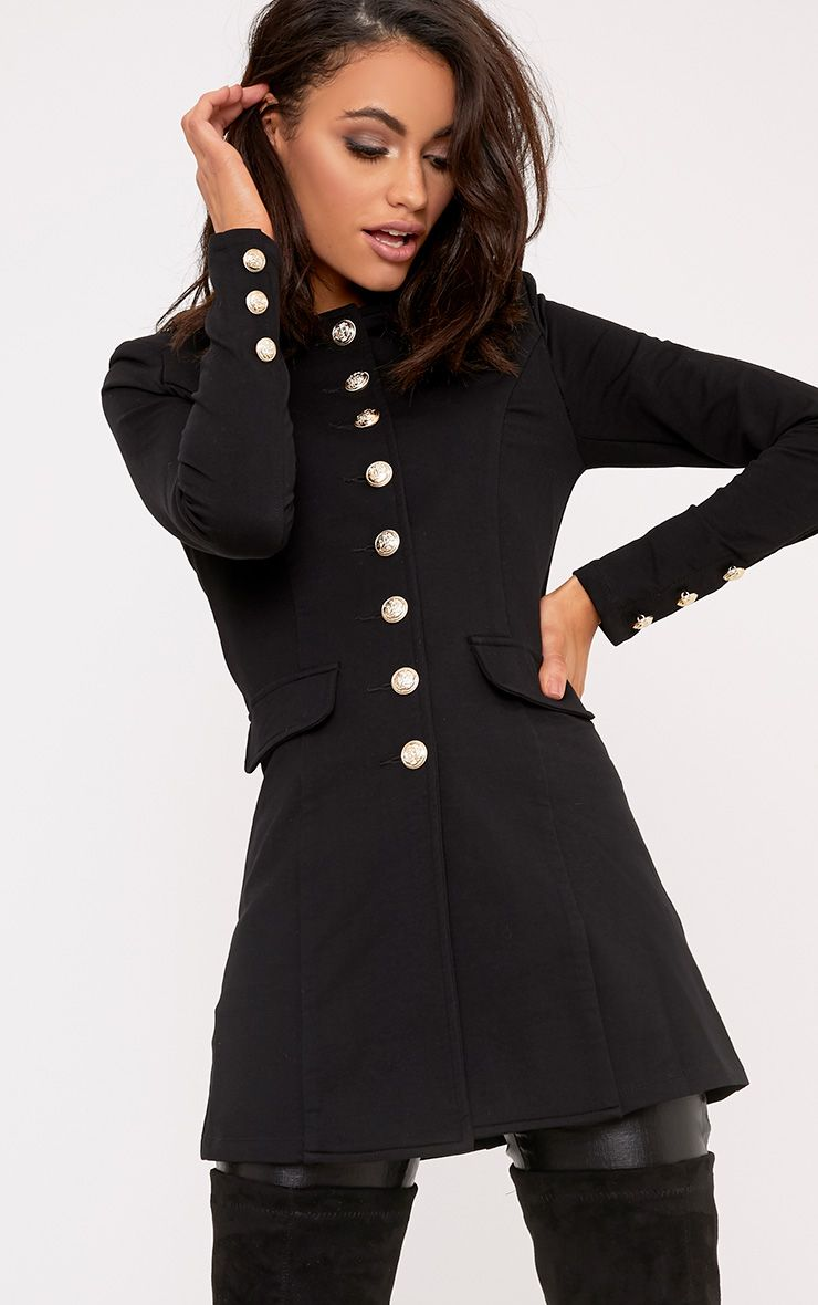 Deleana Black Longline Military Style Jacket
