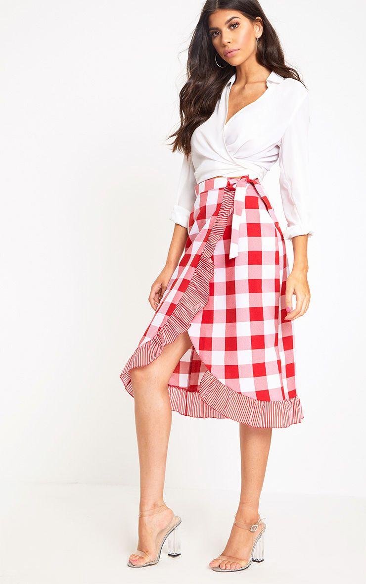 Red Contrast Frill Hem Gingham Midi Skirt