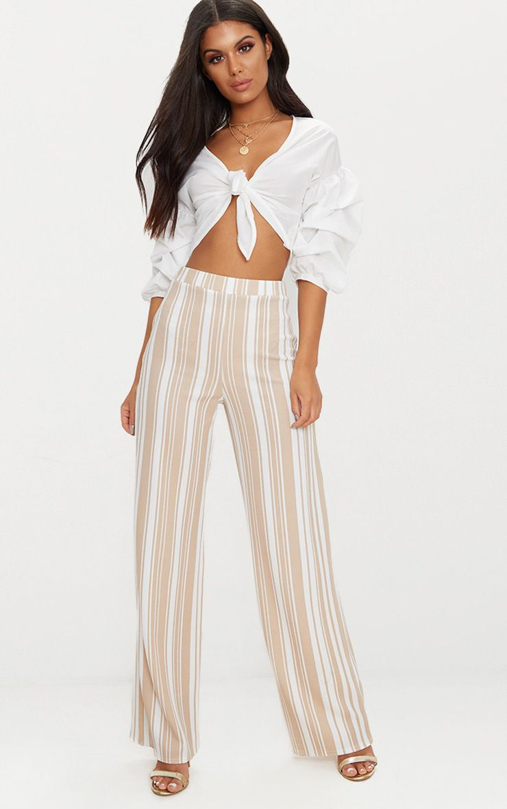 Stone Crepe Stripe Wide Leg Trouser