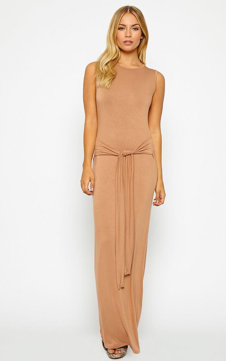 Annie Camel Tie Front Maxi Dress 1