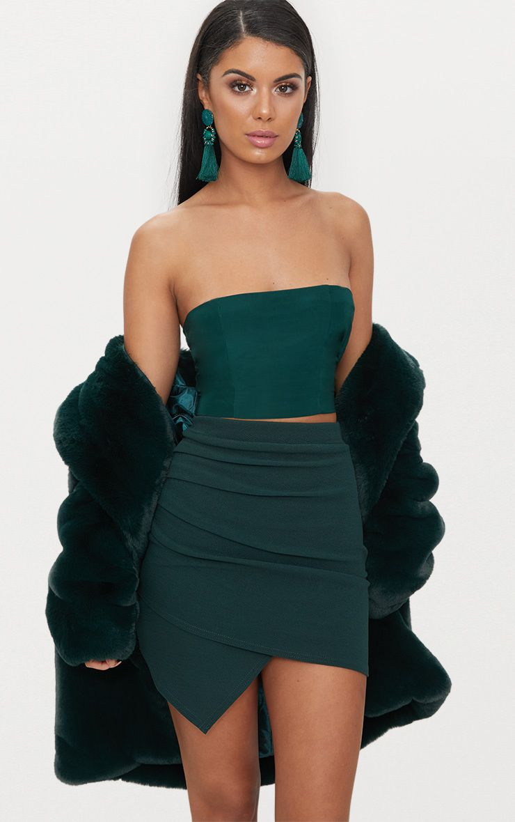 Emerald Green Ruched Wrap Mini Skirt