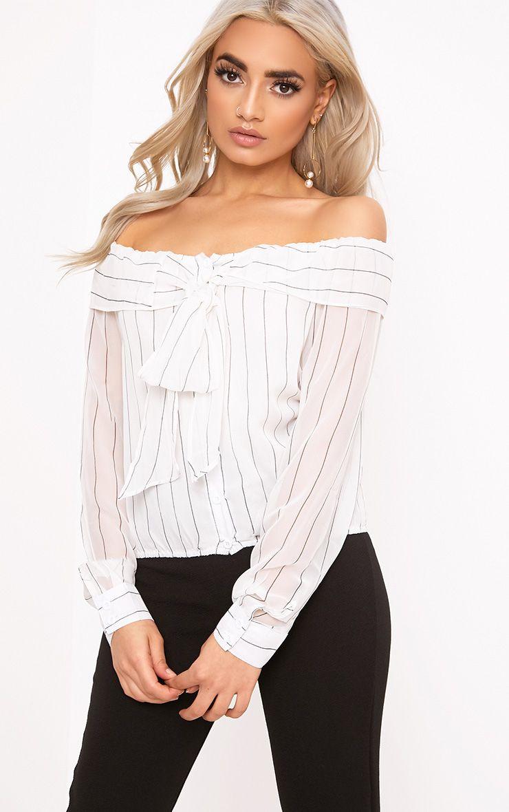 Valorie White Chiffon Stripe Tie Bardot Shirt