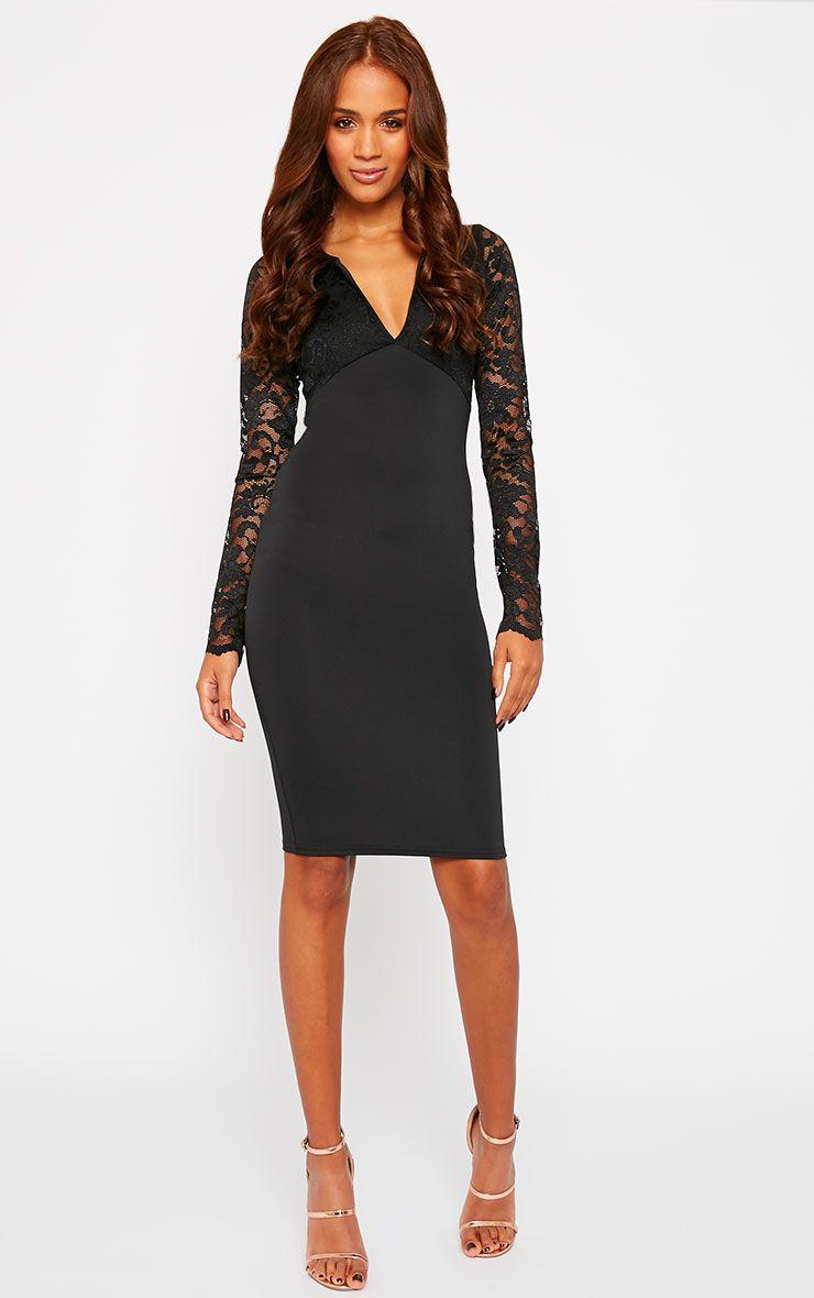 Beth Black Long Sleeve Lace Midi Dress 1