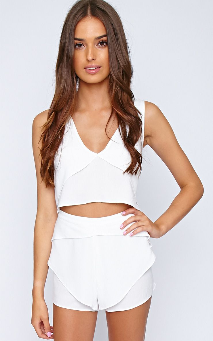 Shelley White Chiffon Crop Top 1