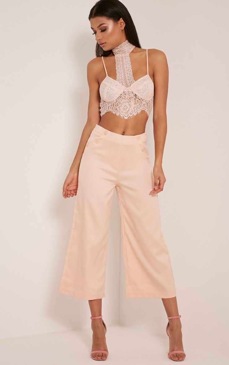 Sabine Nude Button Detail Culottes 1