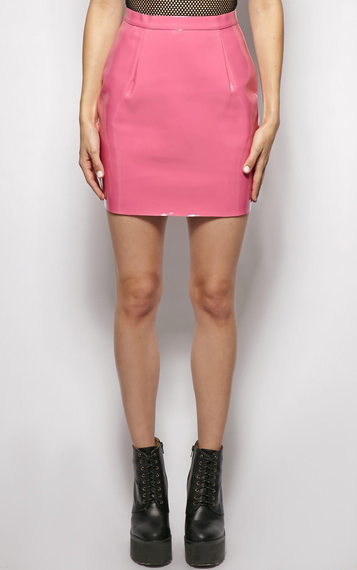 Natalya Pink Pvc Mini Skirt