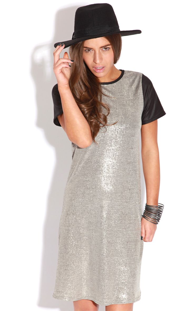 Bevan Gold Metallic Dress With Black Leather Capped Sleeves 1