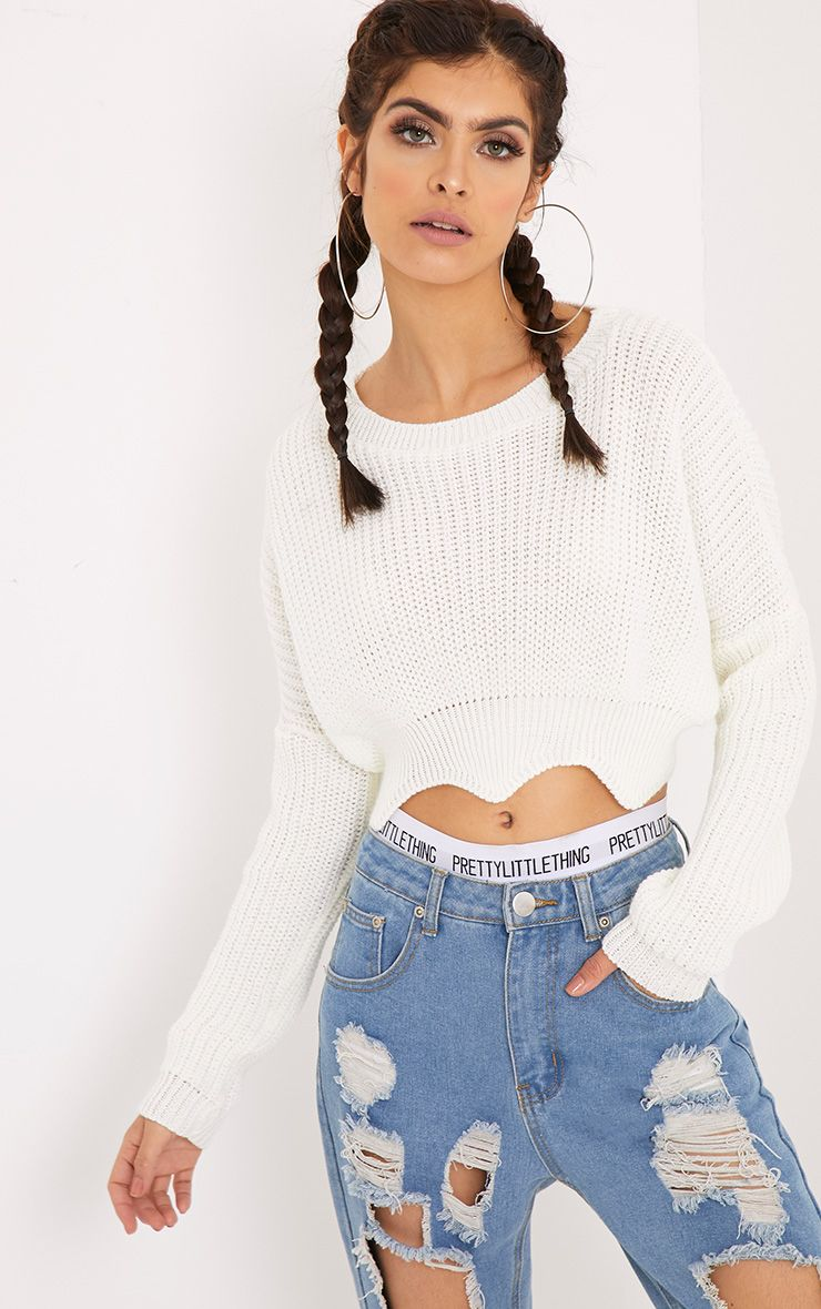 Aeesha Cream Scallop Crop Jumper