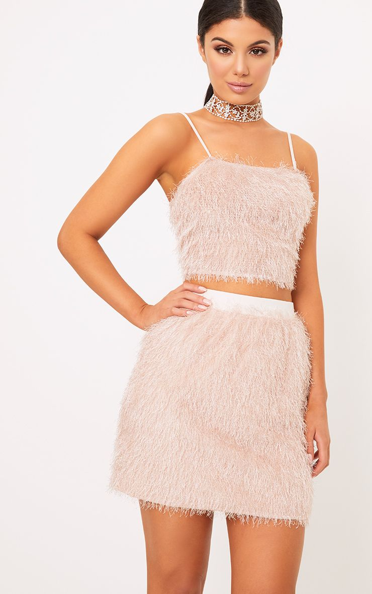 Diala Pink Eyelash Fringe Crop Top