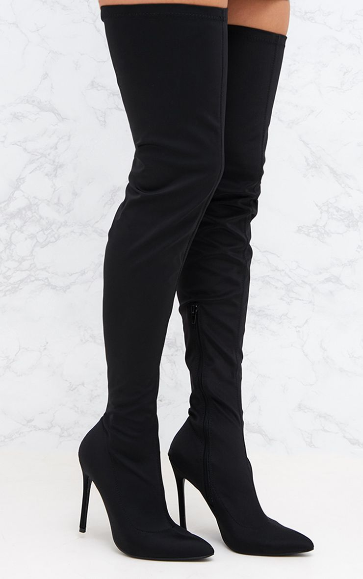 Black Lycra Thigh High Pointed Sock Boot