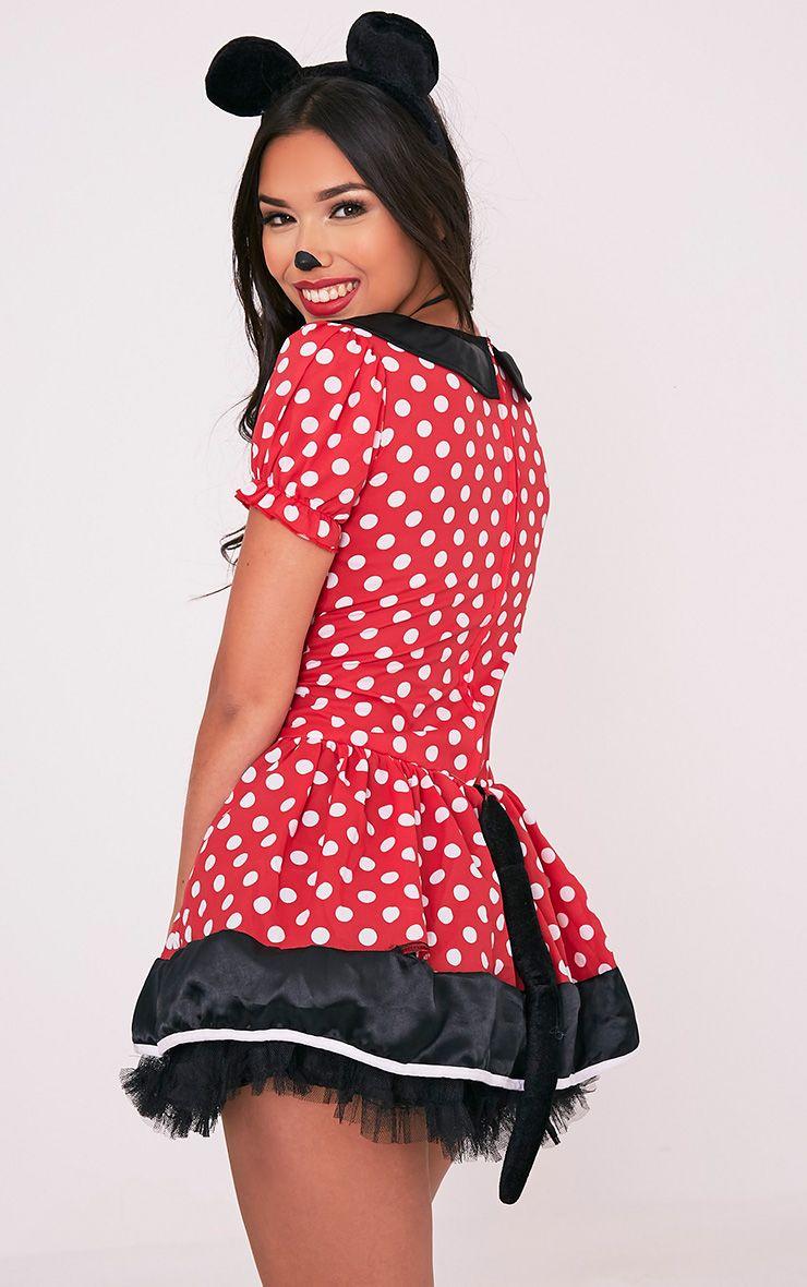 Costume de souris robe rouge à pois 3