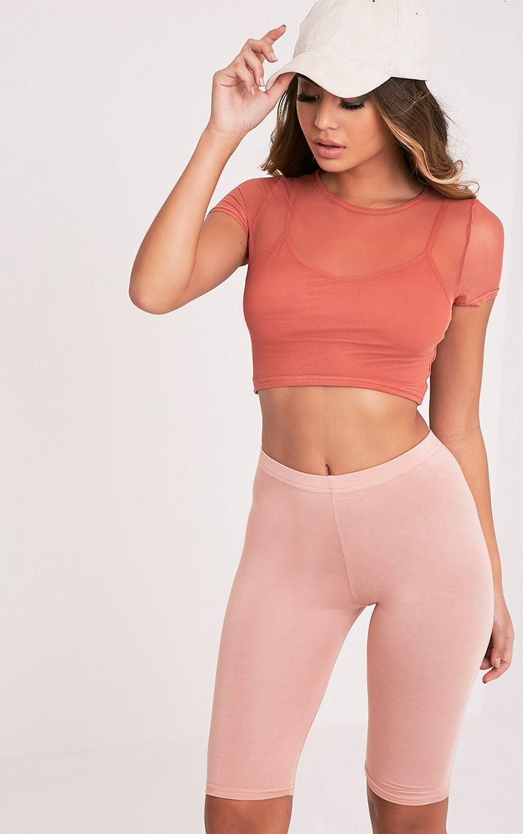 Marita Deep Peach Mesh Cropped 2 in 1 T Shirt  1