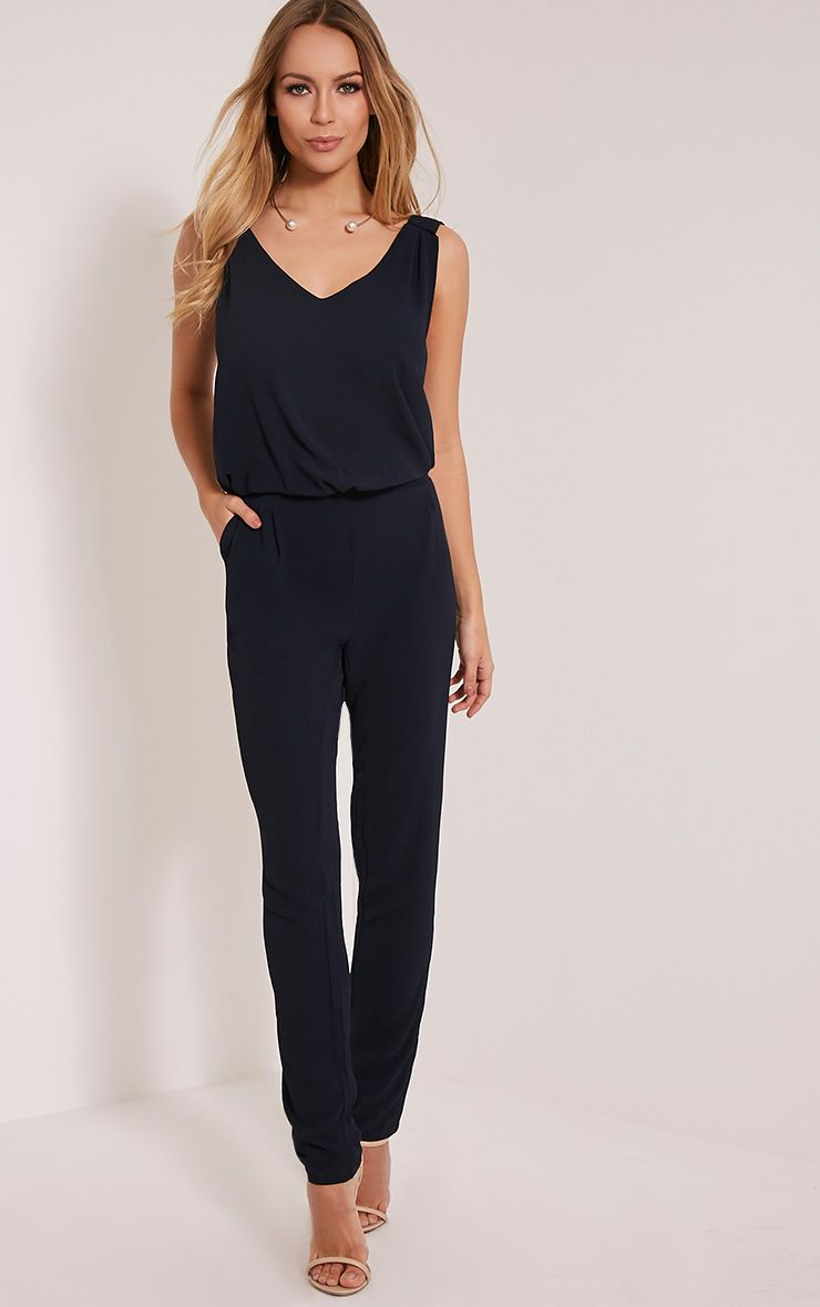 Jini Navy Sleeveless Crepe Jumpsuit 1