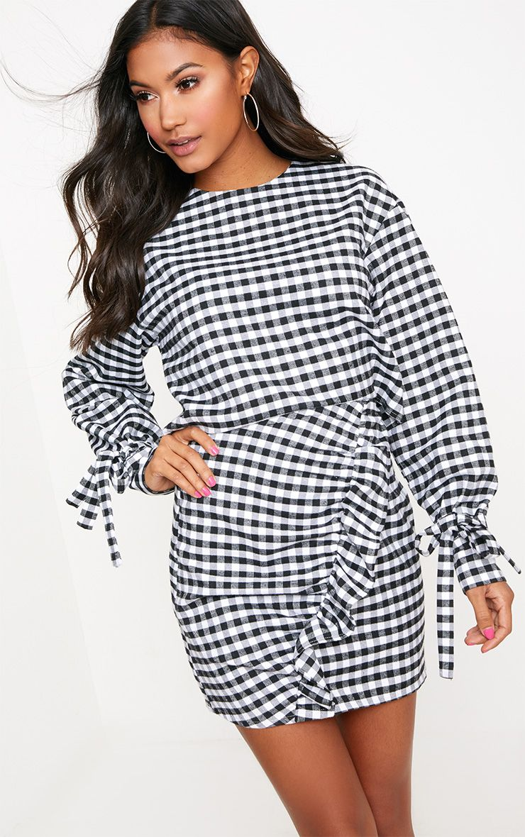 Black Gingham Button Back Bodycon Dress
